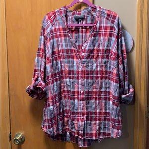 Women's Lane Bryant plaid button down shirt 22/24